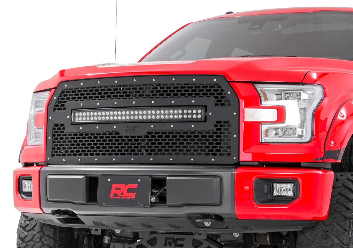 Grille mesh with 30 dual row black serie led bar ford f150 2015 a 2017 numéro